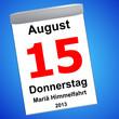 Leinwandbild Motiv Kalender auf blau - 15.09.2013 - Mariä Himmelfahrt