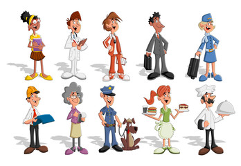Group of cartoon business people. Professionals.