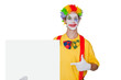 Clown mit Reklametafel