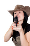 girl in a cowboy hat with a gun