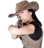 Woman with gun in hand isolated