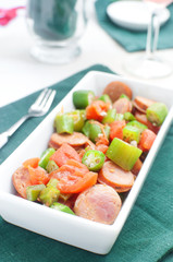 Okra and sausages salad