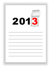 New Year's sheet notebook with the words 2013