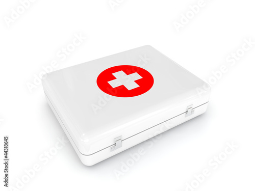 white first aid kit isolated on white background
