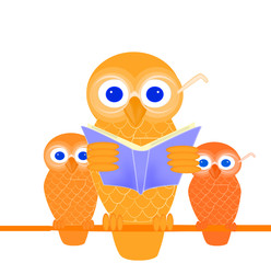 Wise mother owl reading a book to her children