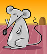 cute gray mouse cartoon illustration