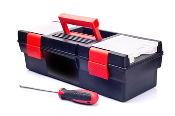 Isolated Red Toolbox Close-up