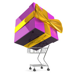 CarryingBigGiftBoxByShoppingCart