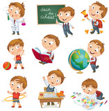 Fototapety Boy raising his hand in school. Wrote in chalk on blackboard