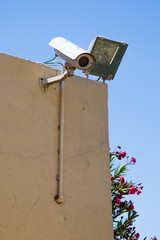 Video camera of system of supervision on a building wall