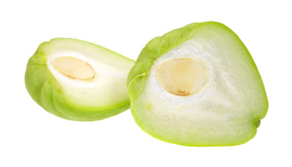 Two halves of chayote squash