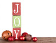 The word joy spelled out on blocks