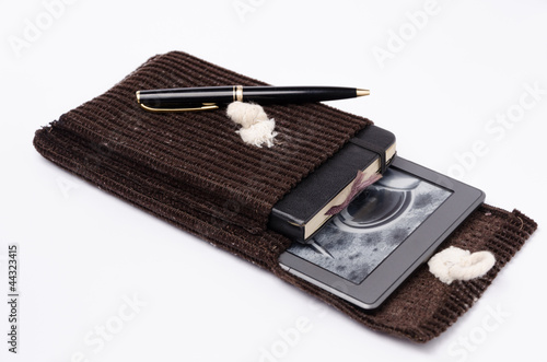 e-reader and notebook cover