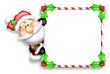 Whimsical Cartoon Santa Peeking Around Candy Cane Sign
