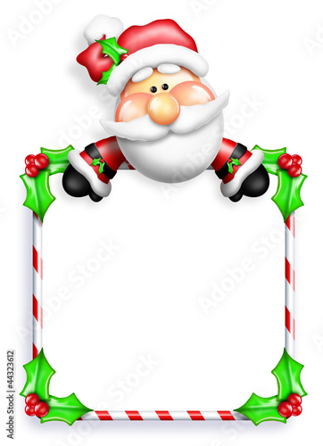 Whimsical Cartoon Santa leaning Over Sign