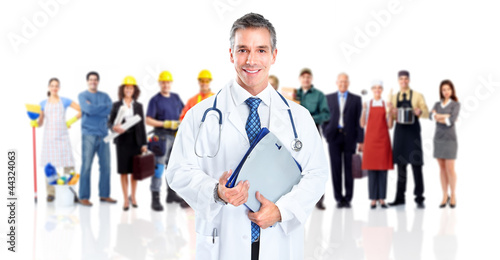 Doctor and a group of workers people.