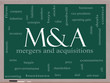 M & A (Mergers and Acquisitions) Word Cloud on a Blackboard