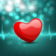 Cardiogram with red heart shape on green background. EPS 10.