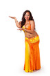 Belly dancer making presenting gesture