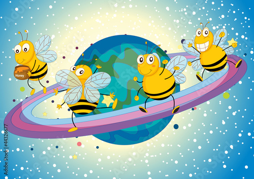 Foto op Aluminium Kosmos honey bees on saturn