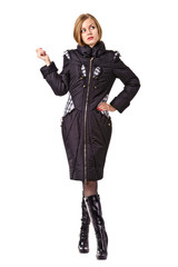 Beautiful girl in warm coat, isolated