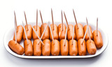 cocktail sausages; punctured tray with chopsticks poster