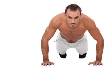 Man performing push-up