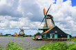 Picturesque landscape with windmills. Zaandijk, Netherlands