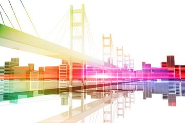 Puente con rascacielos de ciudad al fondo