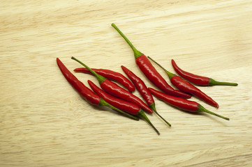 Thai red hot chili on wood background