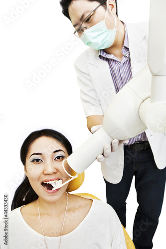 Dentist taking an X-ray