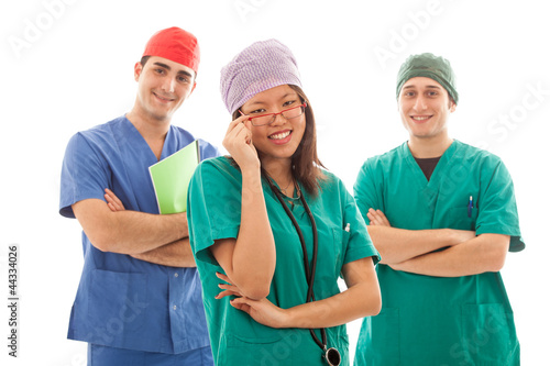 Multicultural Group of Doctors on White