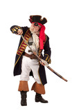 Classic pirate captain in authentic looking costume, standing an