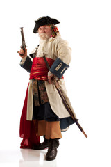 Classic old bearded pirate captain in authentic looking costume,