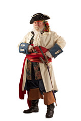 Defensive pirate standing with weapons ready