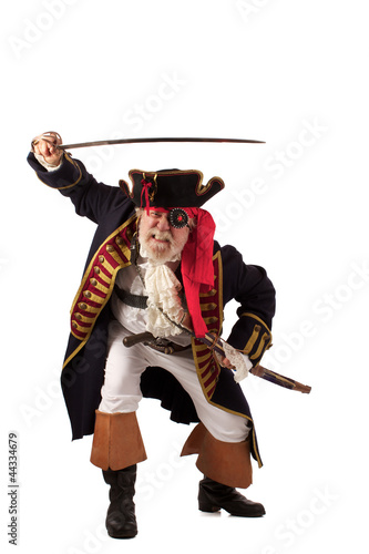 Classic bearded pirate captain lunging with raised sword.