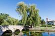 Picturesque Landscape, Church, Bridge, River and Willow, Solin,
