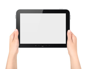 Holding Digital Tablet PC In Hands Isolated