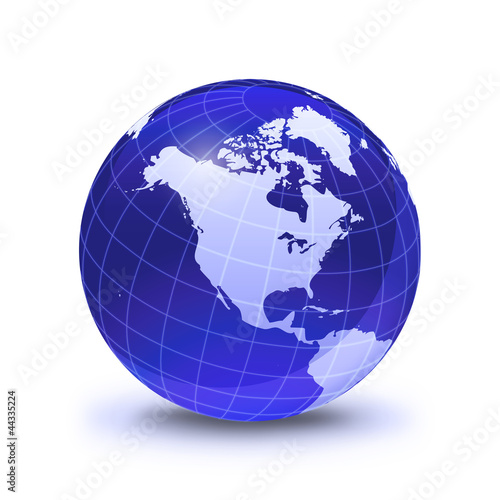 Earth globe stylized, in blue color, shiny and with white glowin