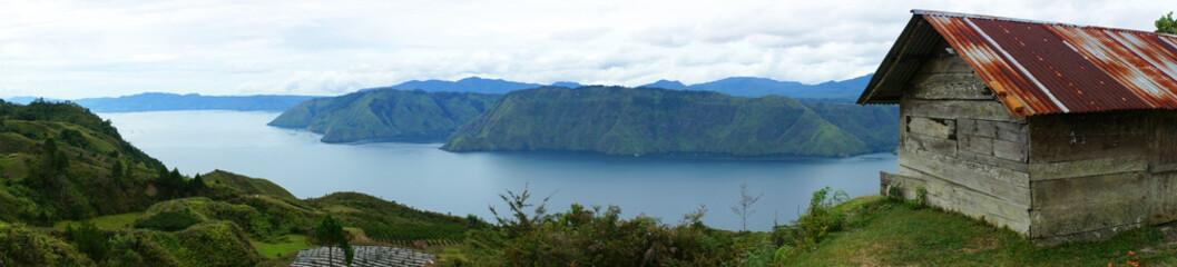 Panorama of house near the Lake toba
