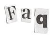 faq word made ​​of newspaper letters