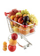 Still life of fruit in the cart isolated on white