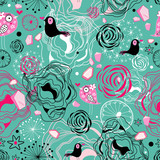 floral texture with birds