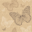 the beige seamless pattern with brown and white butterfly
