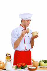 Young cook preparing food