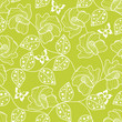 vector seamless green floral pattern with butterflies