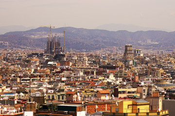 Aerial view of Barcelona city