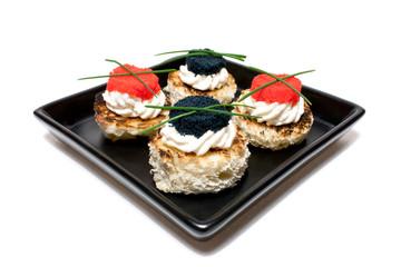 Plate With Caviar Canapés