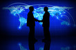 Global business, silhouette of a partner agreement