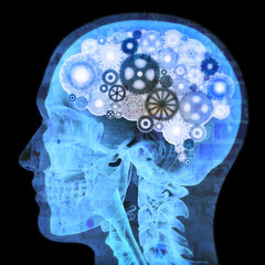 Intellectual thinker , Human xray with gears for brains